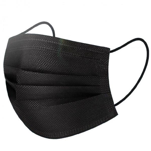 10x Mundschutz Maske 3-Lagig Schwarz